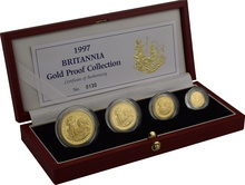 1997 Proof Britannia Gold 4-Coin Set Boxed