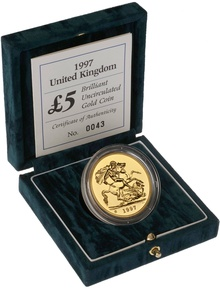 1997 - Gold £5 Brilliant Uncirculated Coin Boxed