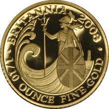2008 Tenth Ounce Proof Britannia Gold Coin