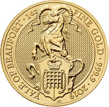 1oz Gold Coin, Yale Of Beaufort - Queen's Beast 2019