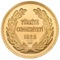 Turkish 250 Piastres Kurush Gold Coin - Kemal Ataturk