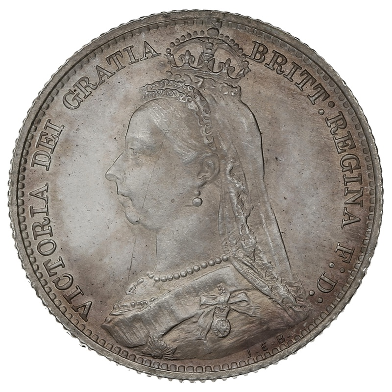 1892 Queen Victoria Silver Sixpence