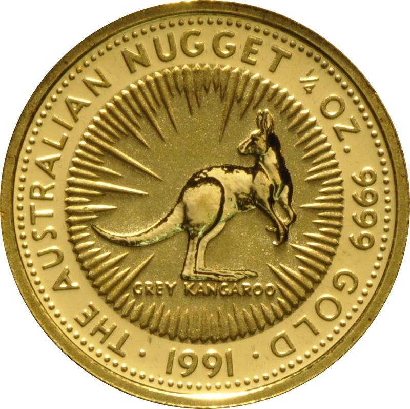 1991 Quarter Ounce Gold Australian Nugget