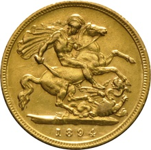 1894 Gold Half Sovereign - Victoria Old Head - London