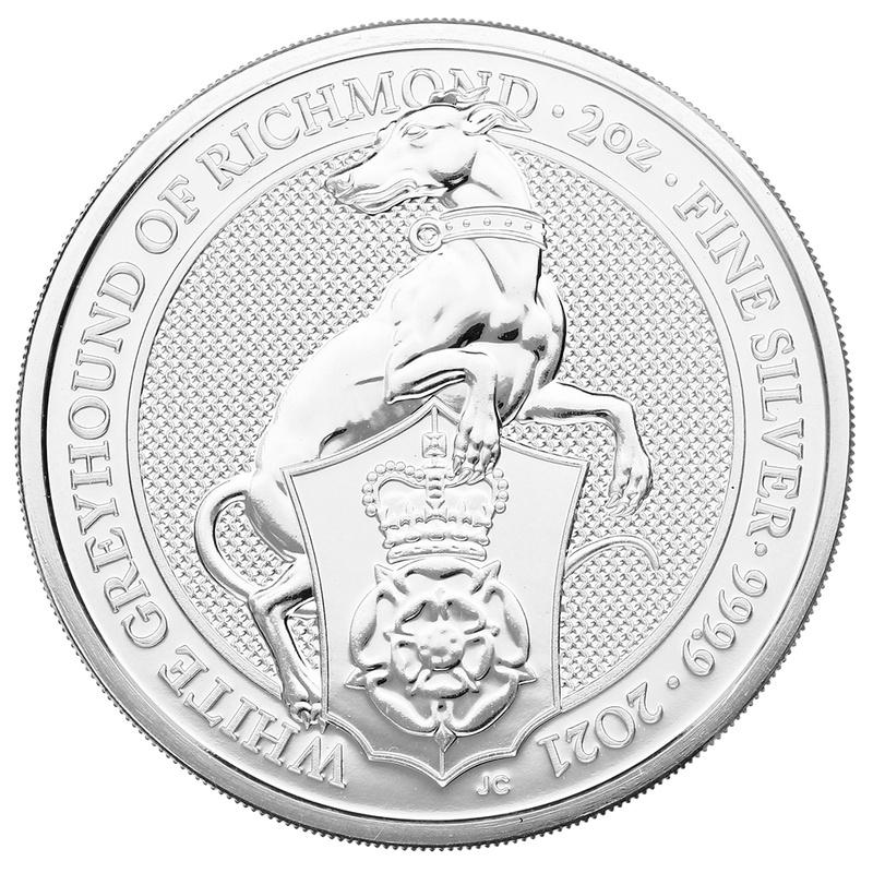 2021 2oz Silver Coin, White Greyhound of Richmond, Queen's Beast