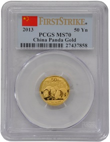 2013 1/10 oz Gold Chinese Panda Coin PCGS MS70