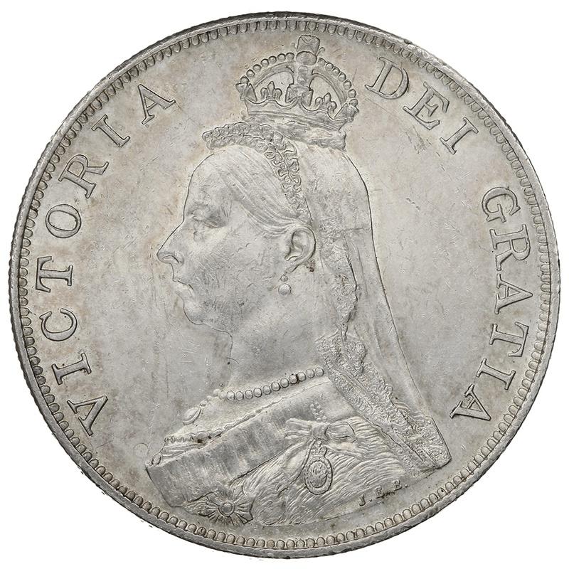 1889 Queen Victoria Silver Double Florin - Inverted 1 in VICTORIA