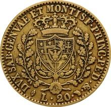 1828 Sardinian 20 Lire Gold Coin Carlo Felice