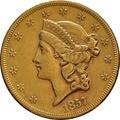 1857 $20 Double Eagle Liberty Head Gold Coin, San Francisco