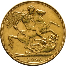 1890 Gold Sovereign - Victoria Jubilee Head - London