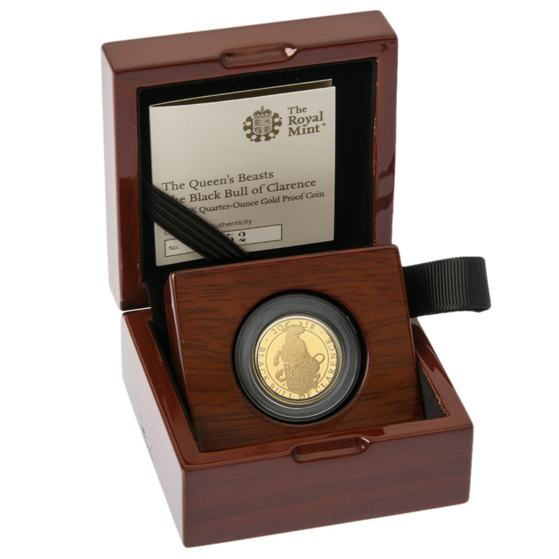 2018 1/4oz Quarter Ounce Proof Black Bull of Clarence Gold Coin Queen's Beasts Boxed