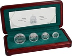 2002 Platinum Canadian Great Blue Heron Proof 4 coin set Boxed