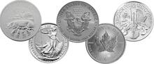2019 1oz Silver Coin Set; Eagle, Maple, Brit, Phil, Pig