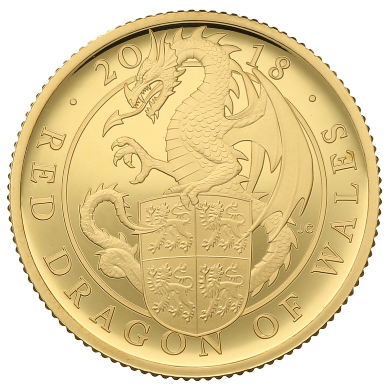 2018 1/4oz Quarter Ounce Proof Red Dragon Gold Coin Queen's Beasts