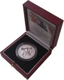 3 oz Platinum Entente Cordiale 5 Pounds Piedfort Proof Crown 2004 Boxed