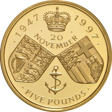 1997- Gold £5 Proof Crown, Golden Wedding Anniversary of Her Majesty the Queen