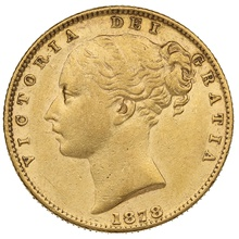 1878 Gold Sovereign - Victoria Young Head - Shield Back- S