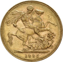 1885 Gold Sovereign - Victoria Young Head - S