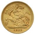 1895 Gold Half Sovereign - Victoria Old Head - London