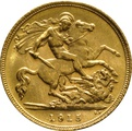 1915 Gold Half Sovereign - King George V - S
