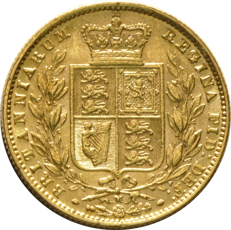 1874 Gold Sovereign - Victoria Young Head Shield Back - M