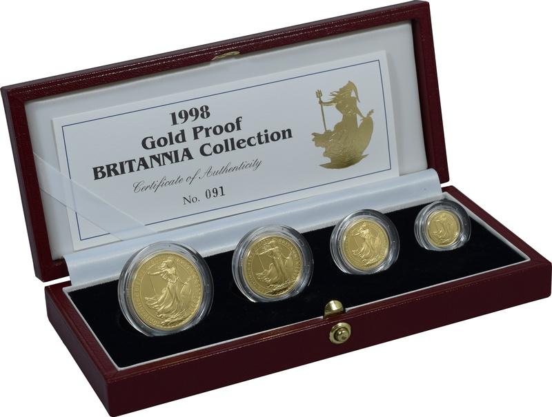 1998 Proof Britannia Gold 4-Coin Set Boxed