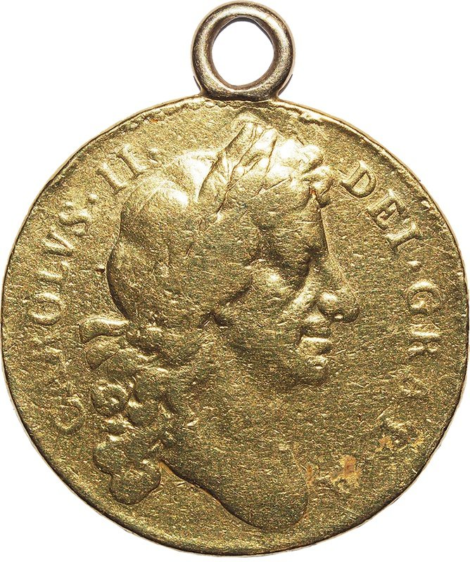 1679 Charles II Two Guinea Gold Coin - Fine