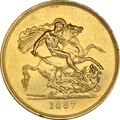 1887 - Victoria Jubilee Gold Five Pound £5 Gold Coin NGC AU53