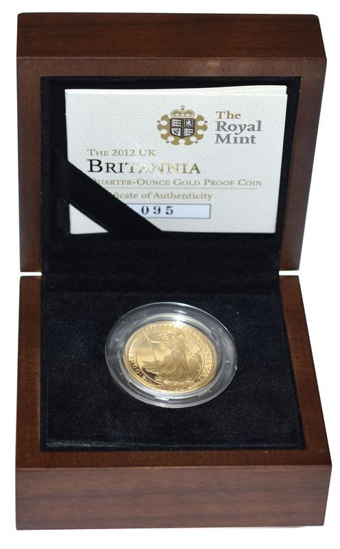 2012 Britannia Quarter Ounce Gold Proof Coin Boxed
