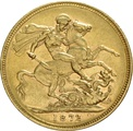 1872 Gold Sovereign - Victoria Young Head - M