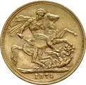 1874 Gold Sovereign - Victoria Young Head - London
