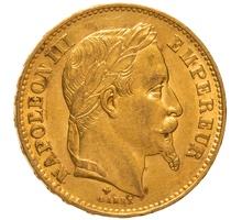 1869 20 French Francs - Napoleon III Laureate Head - BB