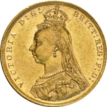 1889 Gold Sovereign - Victoria Jubilee Head - M