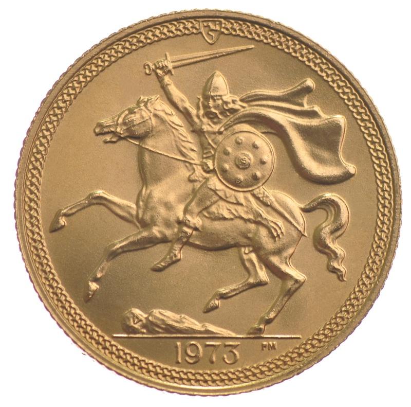 1973 Gold Sovereign - Elizabeth II Decimal Portrait - Isle of Man