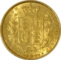1860 Gold Sovereign - Victoria Young Head Shield Back- London - Tall 0