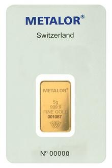 Metalor 5 Gram Gold Bar