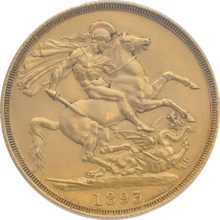 1893 Victoria Veiled Head £2 Gold coin CGS75 UNC MS 62-63