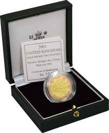 2001 £2 Two Pound Proof Gold Coin: Marconi, Wireless Bridges Boxed