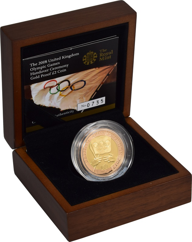 2008 £2 Two Pound Proof Gold Coin: London Olympic Handover Ceremony Boxed