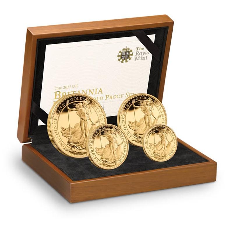 2012 Proof Britannia Gold 4-Coin Set Boxed