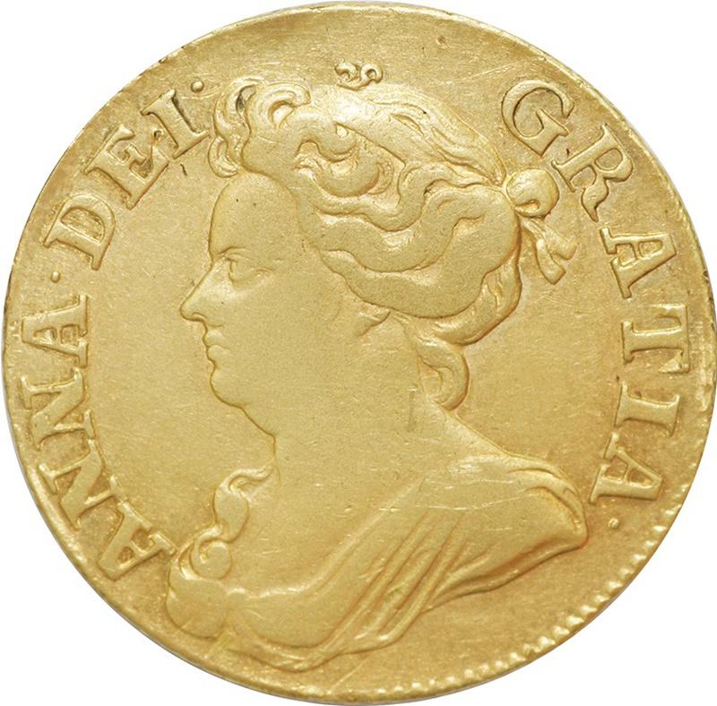 1710 Anne Guinea Gold Coin - Near Very Fine