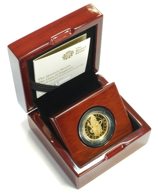 2017 1/4oz Quarter Ounce Proof Lion Gold Coin Queen's Beasts Boxed