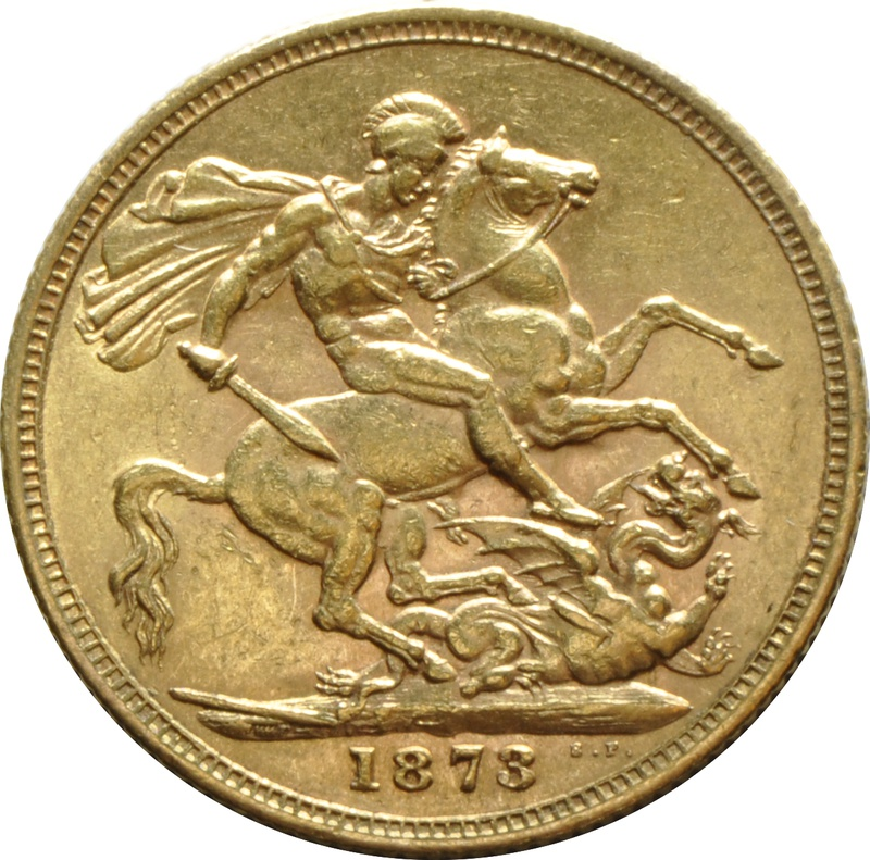 1873 Gold Sovereign - Victoria Young Head - S