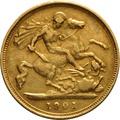 1901 Gold Half Sovereign - Victoria Old Head - London