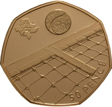 The London 2012 50p Gold Proof Piedfort Olympic Tennis Coin Boxed