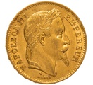 1869 20 French Francs - Napoleon III Laureate Head - BB