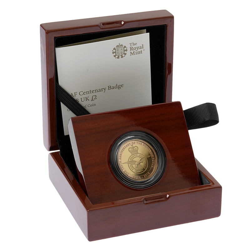 2018 £2 Two Pound Proof Gold Coin RAF Centenary Badge Boxed