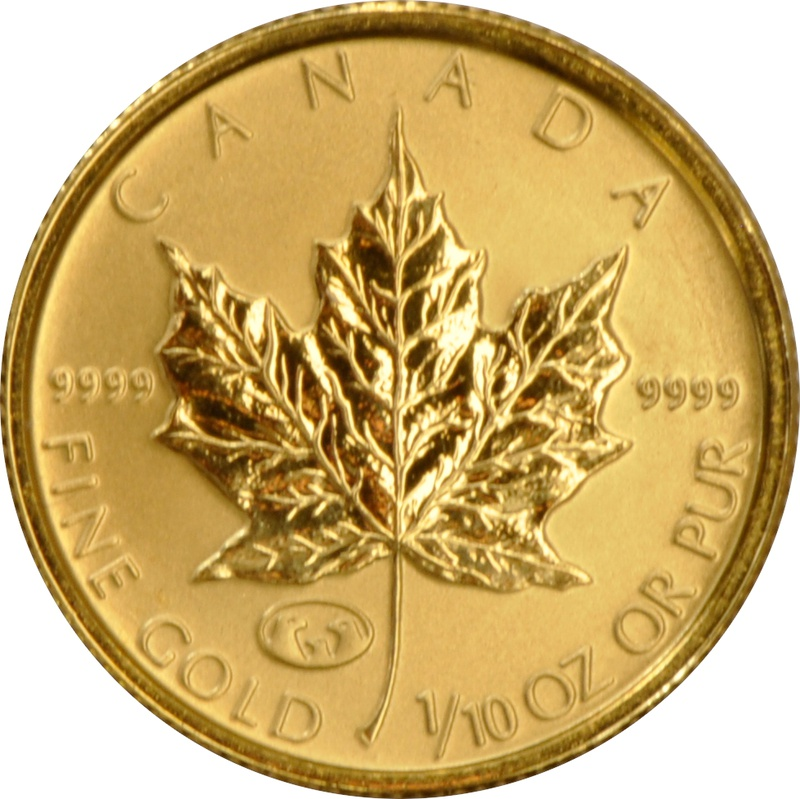 1998 Tenth Ounce Gold Canadian Maple