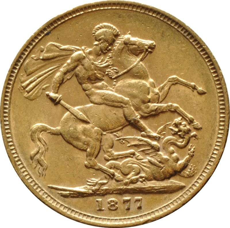 1877 Gold Sovereign - Victoria Young Head - M