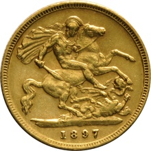 1897 Gold Half Sovereign - Victoria Old Head - London
